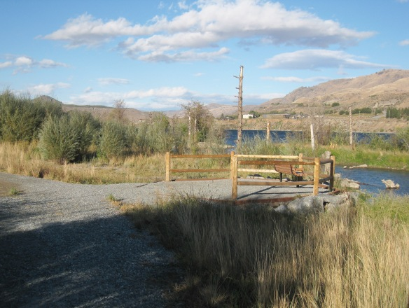 An accessible viewpoint and bench (Beebe Springs Natural Area, near Chelan, WA)