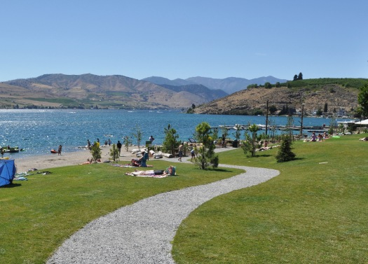 A serpentine path often reduces the gradient, improving accessibility (Don Morse Park, Chelan)